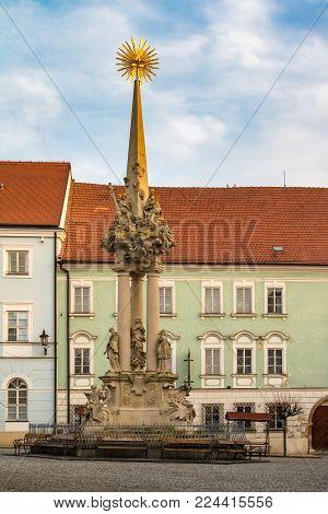 Sculpture of Holy Trinity - plague pillar in historic town Mikulov, Czech Republic