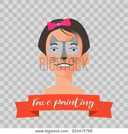 Kid with cat face painting vector illustrations on transparent background. Child face with animal makeup painted for kids party
