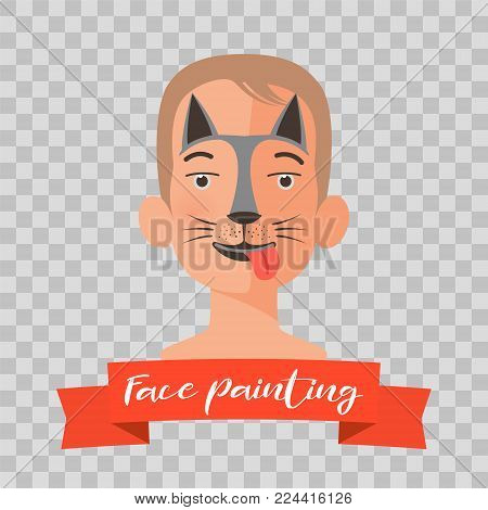 Kid with dog face painting vector illustrations on transparent background. Child face with animal makeup painted for kids party