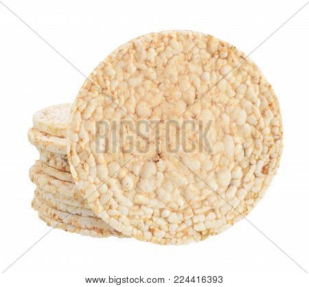 Puffed rice cakes isolated on white background