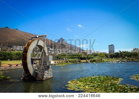 Green Point park with scenic views of Table Mountain and Lion's Head, Cape Town, South Africa