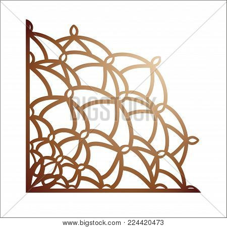 Laser cutting corner. Vector template for paper cutting, metal and woodcut. Tapestry panel. Jigsaw die cut ornament. Lacy cutout silhouette stencil. Fretwork floral pattern. poster