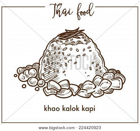 Exotic khao kalok kapi dish from Thai food. Heap of fried rice, rich shrimp paste, cloves garlic, peeled and chopped, and vegetable oil isolated cartoon flat vector illustration on white background.
