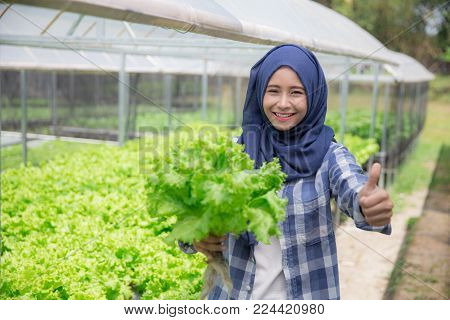 female farmer showing thumb up after checking the quality of the plant in the farm