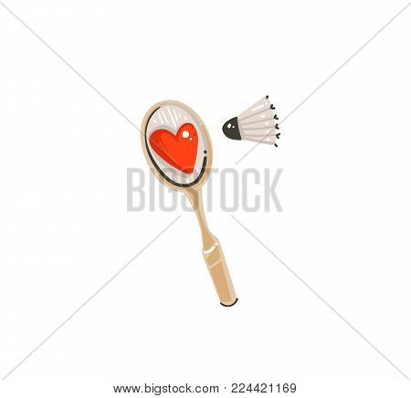 Hand drawn vector abstract graphic doodle cartoon simple illustration icon with cute funny badminton equipment and big red heart isolated on white background.Happy Valentines day concep.