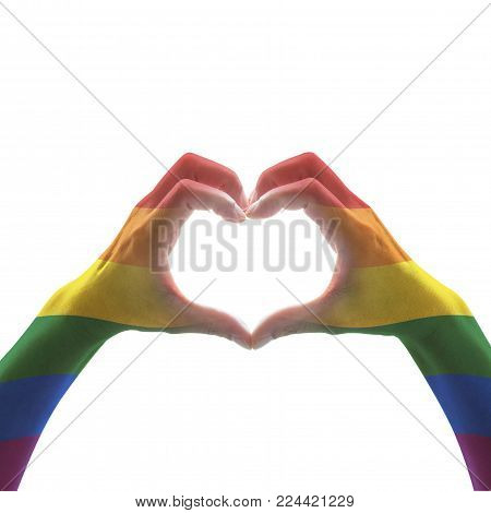Rainbow Color Flag Pattern On Woman Human Hands Forming In Heart Shape On Blue Vintage Tone Backgrou