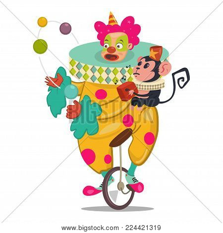 Circus clown juggling on a unicycle with cute monkey. Vector cartoon character isolated on a white background.