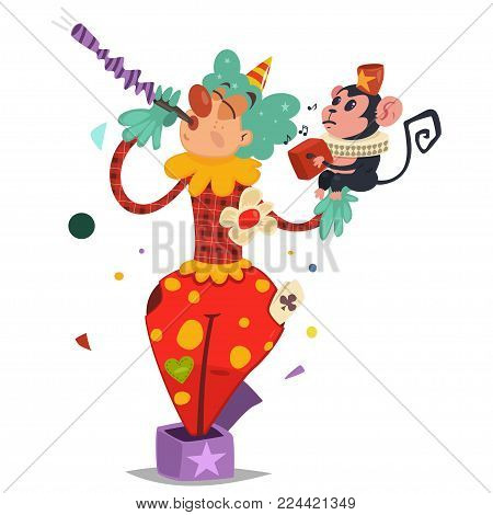 Funny circus clown in traditional costume with a cute monkey in his arms. Vector cartoon character isolated on a white background.