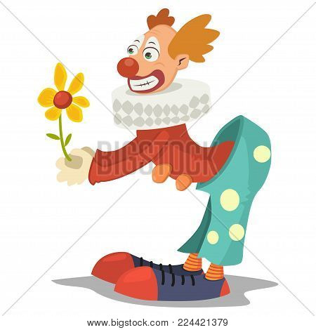 Circus clown with flower. Vector cartoon character isolated on a white background.