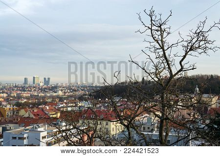 Pankrac District With Prague Tallest Buildings From Mrazovka, Czech Republic
