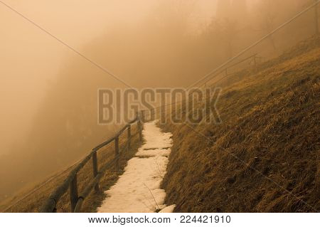 The trail on the mountain, around radiation