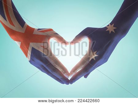 Australia national flag  on people hands in heart shape isolated on sky background for labour day and national holiday celebration poster