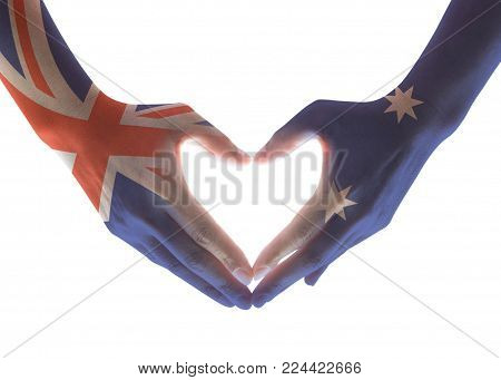 Australia National Flag  On People Hands In Heart Shape Isolated On White Background For Labour Day