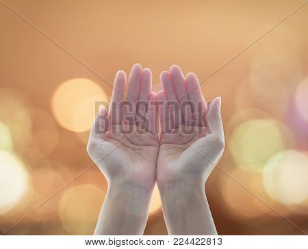 Women prayer hand praying for peace and for holy spirit week, world religion day concept