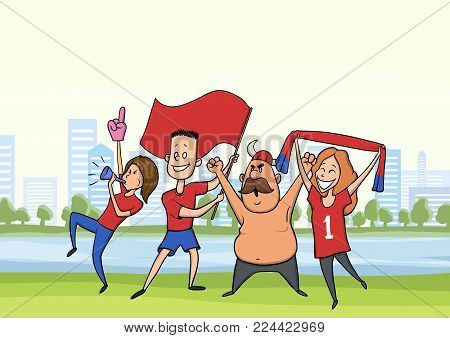 A group of football fans. Happy men and women cheering for their favourite football team in the city landscape. Vector illustration.
