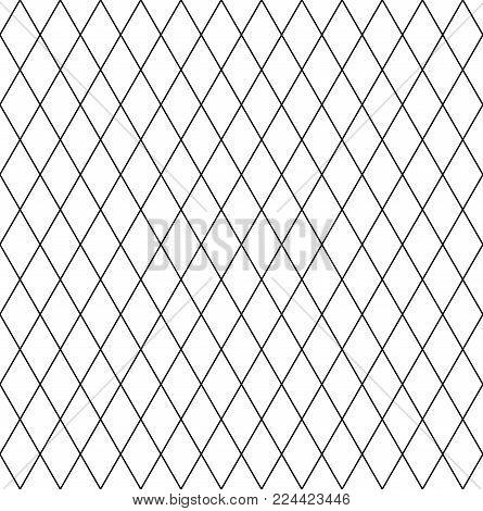 Seamless diamonds pattern. Latticed geometric texture. Vector art.