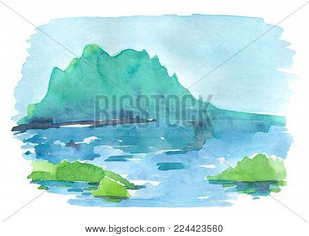Calm landscape in blue and green colors. Mountain reflects in water. Watercolor illustration isolated on white