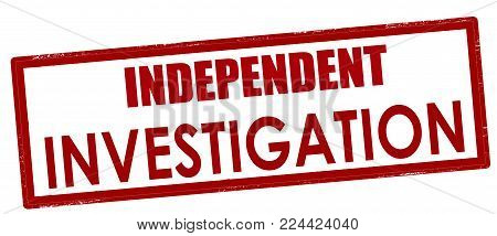 Rubber stamp with text independent investigation inside, vector illustration