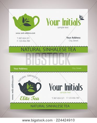 Natural sinhalese tea distributor or business visit card prototype. Vector illustration