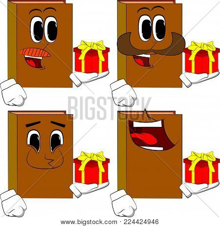 Books holding small gift box. Cartoon book collection with happy faces. Expressions vector set.