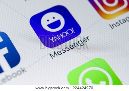 Sankt-Petersburg, Russia, January 31, 2018: Yahoo messenger application icon on Apple iPhone 8 smartphone screen close-up. Yahoo messenger app icon.