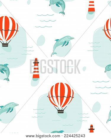 Hand drawn vector abstract cute summer time cartoon illustrations seamless pattern with hot air balloons, lighthouse and dolphins in blue ocean water background.