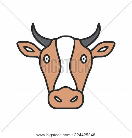 Cow head color icon. Livestock farming. Agriculture. Isolated vector illustration