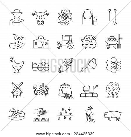Agriculture linear icons set. Farming. Agricultural implement. Thin line contour symbols. Isolated vector outline illustrations