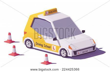 Vector low poly driving school car and traffic cones