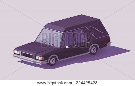 Vector low poly classic black funeral hearse car