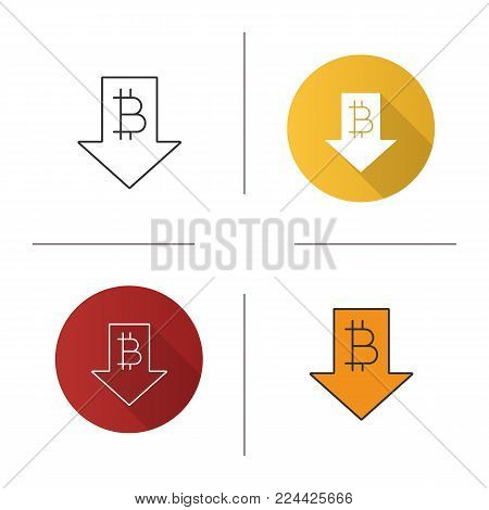 Bitcoin rate falling icon. Flat design, linear and color styles. Cryptocurrency with down arrow. Bitcoin collapse. Isolated vector illustrations