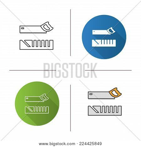 Mitre box and handle pad saw icon. Flat design, linear and color styles. Isolated vector illustrations
