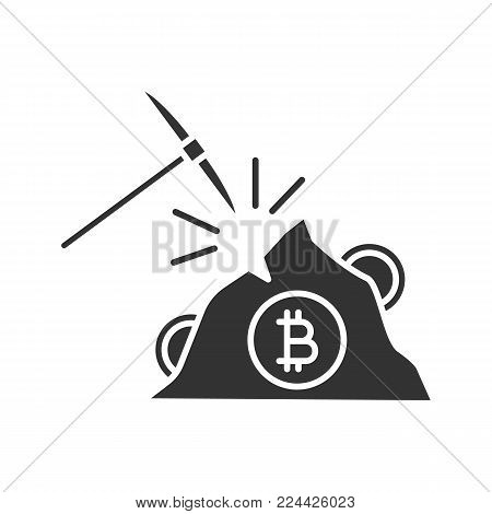 Navy pick with bitcoin sign glyph icon. Silhouette symbol. Cryptocurrency mining. Pickaxe. Negative space. Vector isolated illustration
