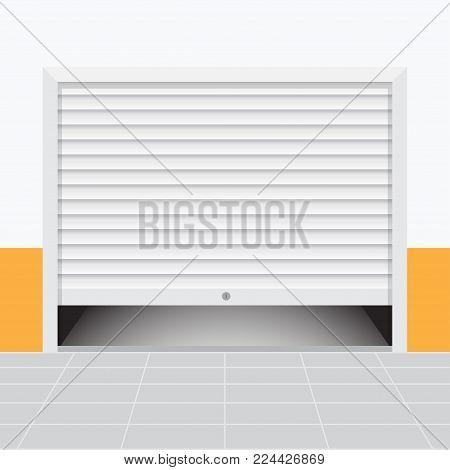 Roller warehouse shutter doors, garage door. Vector illustration