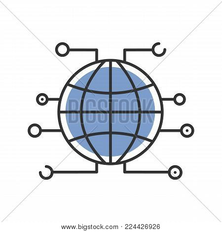 Global cryptocurrency color icon. World wide web. Cryptocurrency. Globe. Isolated vector illustration