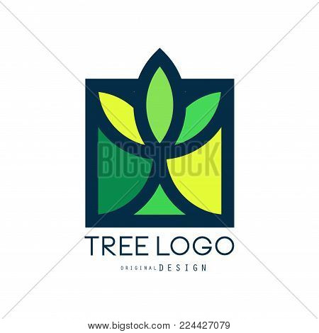 Tree logo original design, green eco bio badge, abstract organic element vector illustration isolated on a white background
