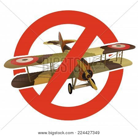 Prohibition of biplane with military camouflage. Strict ban on construction of aircraft with two wings, forbid. Stop World War. Beautiful jet realistically drawn vector flying biplane with propeller.