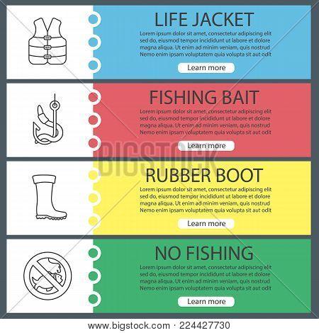 Fishing web banner templates set. Life jacket, bait, rubber boot, no fishing sign. Website menu items. Vector headers design concepts