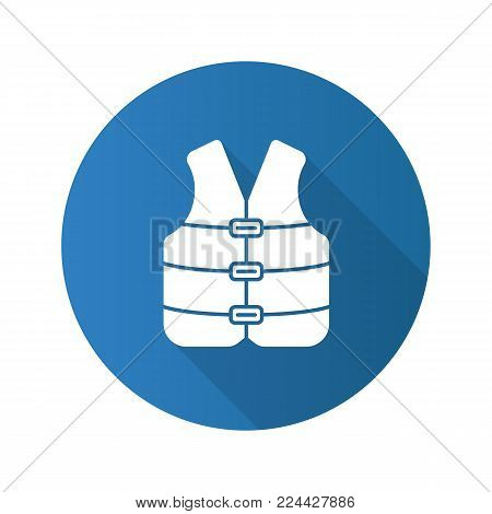 Life jacket flat design long shadow glyph icon. Boating life vest. Vector silhouette illustration