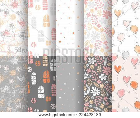 Vector collection of cute stylish seamless patterns for backgrounds, scrapbooking and decorations. Pink and gray colors