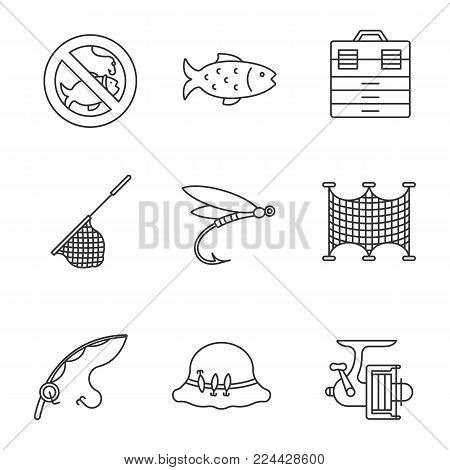 Fishing linear icons set. No fishing sign, tackle box, landing nets, fly fishing, spinning reel, motor rubber boat, fisherman's hat. Thin line contour symbols. Isolated vector outline illustrations