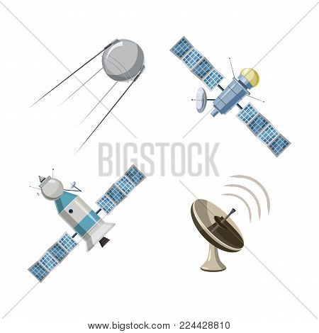Satellite icon set. Cartoon set of satellite vector icons for web design isolated on white background