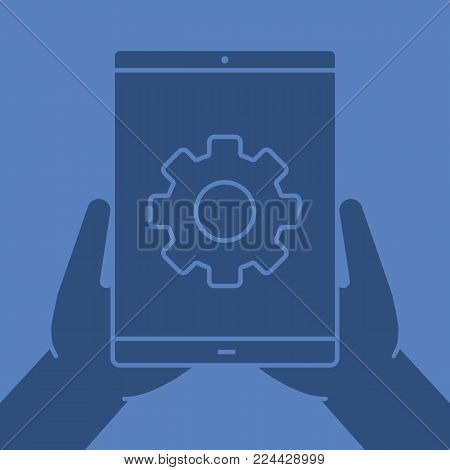 Hands holding tablet computer glyph color icon. Device settings. Silhouette symbol. Tablet computer with cogwheel. Negative space. Vector isolated illustration
