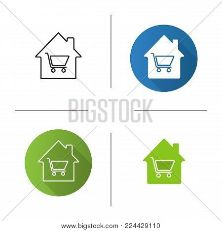 Household goods store icon. Flat design, linear and glyph color styles. House with shopping cart inside. Isolated vector illustrations