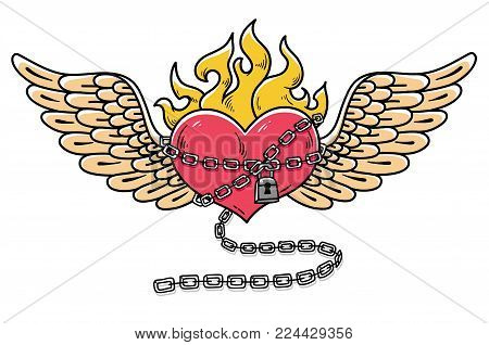 Flying heart in chains of love. Flaming heart tattoo. Loving heart on chain. Tattoo heart flushed with love. Old school styled.