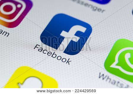 Sankt-Petersburg, Russia, January 31, 2018: Facebook application icon on Apple iPhone 8 smartphone screen close-up.  Facebook app icon. Facebook is the biggest internet online social network