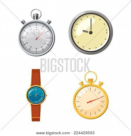 Watch icon set. Cartoon set of watch vector icons for web design isolated on white background
