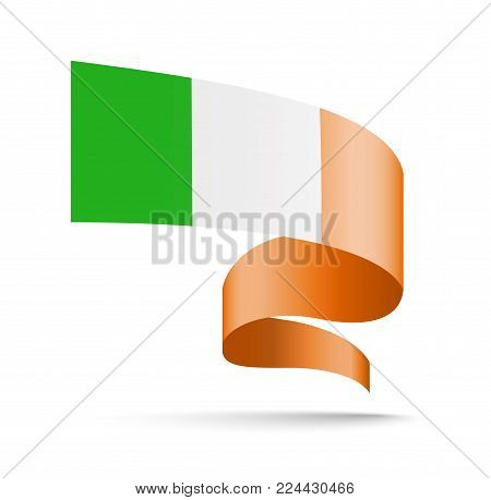 Ireland flag in the form of wave ribbon. Vector illustration on white background.