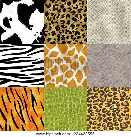 Animal skin pattern seamless vector animalistic skinny textured background of wild skinning natural fur illustration wildlife backdrop set.