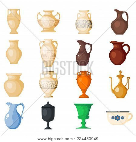 Amphora vector amphoric ancient greek vases and symbols of antiquity and Greece illustration set isolated on white background.